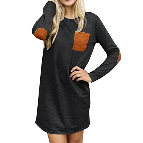 Gillberry Womens Long Sleeve Cotton Casual Loose Short Mini Dress (L, Negro) (Wholesale Clothing Women compare prices)