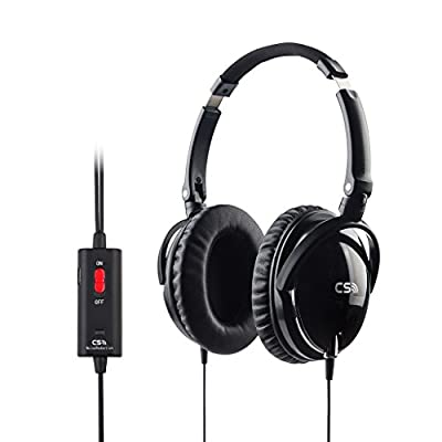Meiego Active Noise Cancelling Over-Ear Streo Headphone Headset With Airline Headphone Adapter-- Retail Packaging