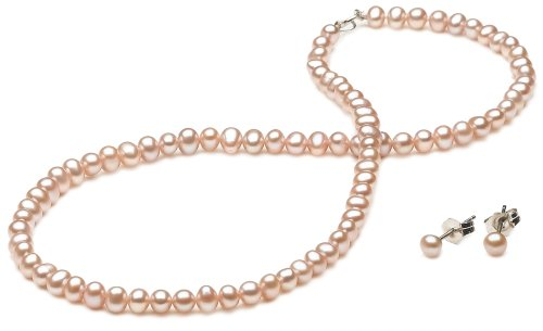 Pink Freshwater Cultured Pearl Children's Necklace and Earrings Set with Sterling Silver Clasp (4-4.5mm ), 13