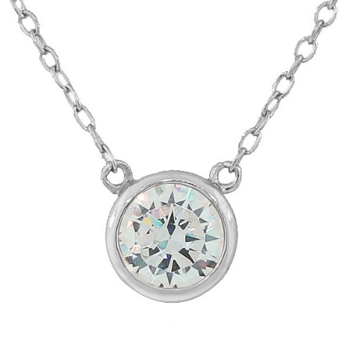 Sterling Silver Yellow Rose Gold Plated Womens Solitaire Bezel Set White Crystal Cz Pendant Necklace With Chain (Rhodium Plated)