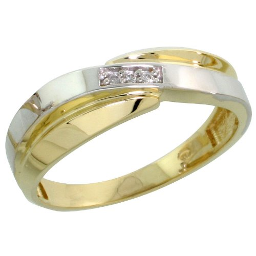 Sterling Silver (Gold Plated) Ladies Diamond Band, 6mm Wide, Size N