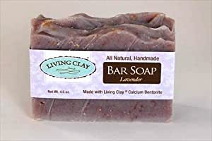 Lavender & Calcium Bentonite Clay Soap - 1 Bar - Living Clay Exfoliant Skin Care Soap For Oily Skin - Herbal Face & Body Soaps