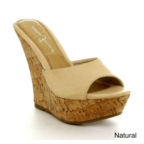 Fashion Focus Ardo-42 Women'S Popular Wedge Sandal, Color:Natural, Size:10 front-267788