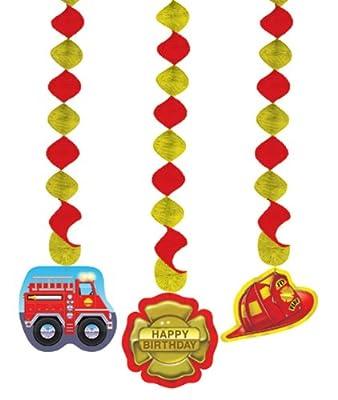 3x Hängende Decken-Deko * Feuerwehr * für Kindergeburtstag // 035771 // Kinder Geburtstag Party Deko Hanging Cutouts Feuerwehrmann Feuerwehrauto
