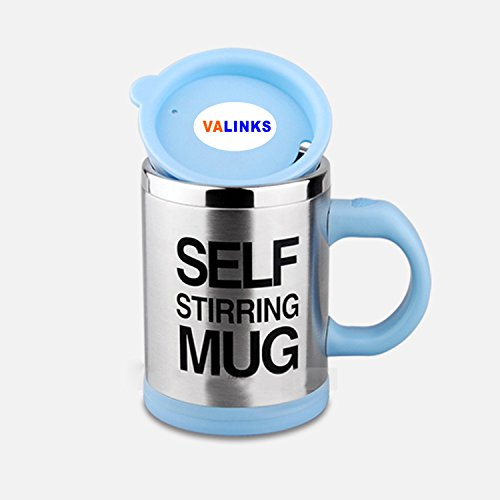 VAlinks(TM) Updated Version Premium Leakproof Self Stirring Coffee Mug - Electric Stainless Steel Automatic Self Mixing Cup Travel Mug 401-500mL Auto Mixing Tea Coffee Cup with Agitating Vane (Blue)