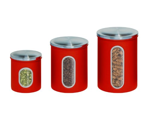 Red metal kitchen canisters set of 3 ebay for Kitchen set red