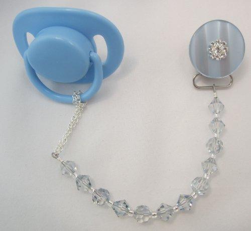 Baby Blue Swarovski Pacifier Clip