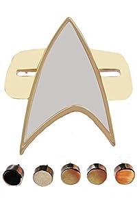 Sidnor Cosplay Star Trek Voyager Communicator Badge + Rank Metal Pin 6-Piece Set (Gold)