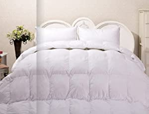 Real Duck Down Comforter White Luxury Full/Queen With Black Trim, After Christmas Half Off Sale