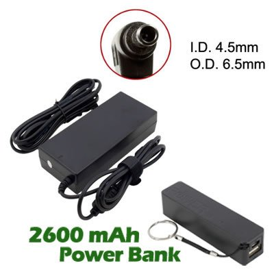 Battpit™ New Replacement Laptop / Notebook Ac Adapter / Power Supply / Charger For Lg Widebook R580-G.Arc9Be5 (19.5V 4.7A 90W Laptop Adapter (Fixed E-Tip)) With 2600Mah Power Bank / External Battery (Black) For Smartphone. front-63341