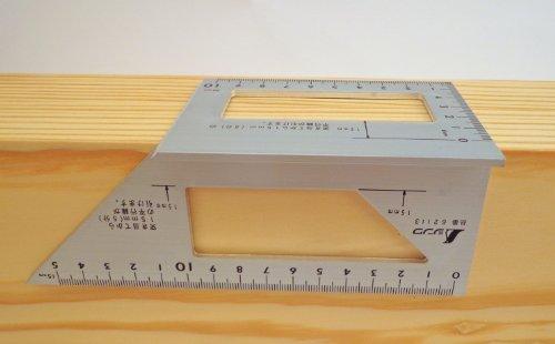 Shinwa Japanese Aluminum Saddle Layout Square w/ 45 degree and 90 degree Sides