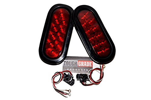 ToughGrade TG-73 Red Oval Sealed LED Turn Signal and Parking Light Kit with Light, Grommet and Plug for Truck,Trailer (Turn, Stop, and Tail Light) (Oval Trailer Lights compare prices)