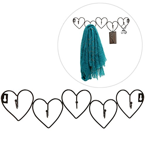 Decorative Black Metal Hearts Design Wall Mounted 5 Coat Hooks Entryway Storage Hanger Rack - MyGift®
