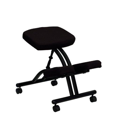 Flash Furniture WL-1420-GG Mobile Ergonomic Kneeling Chair in Black Fabric