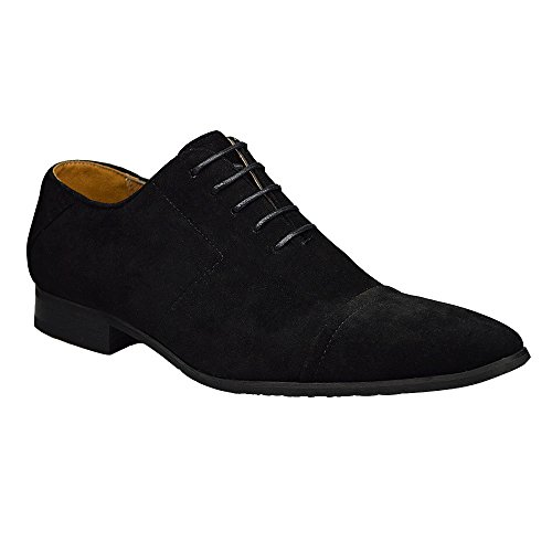 Mens Fashion Black Suede Lace Up Shoes (9)