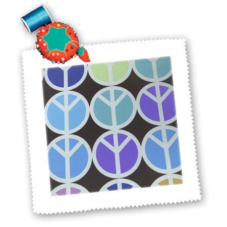 qs_34999_2 Florene Sixties - Purple Aqua and Blue Peace Symbols - Quilt Squares - 6x6 inch quilt square