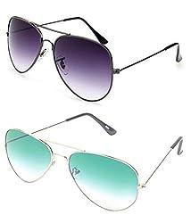 MagJons Black And Aqua Aviator Sunglasses Set Of 2 (With Box)