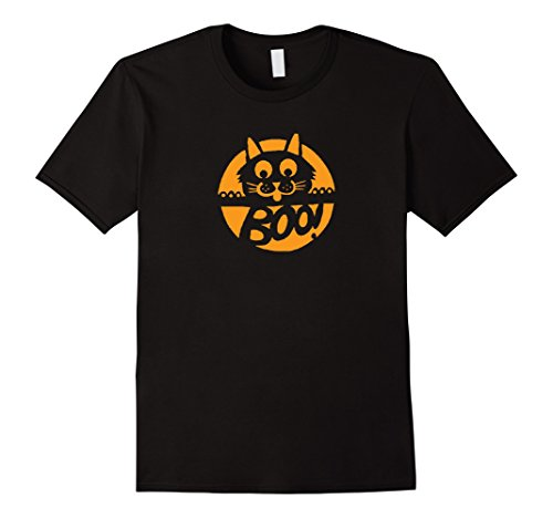 Men's Kitty Cat - Boo! - Halloween Costume T-Shirt Medium Black (Halaween Costume)