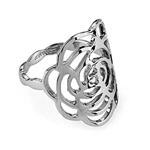 Magic Collection 18k Rose/White Gold Plated Openwork Flower Design Cocktail Ring (18k White Gold Plated, 9)