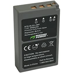 Wasabi Power Battery for Olympus BLS-5 PS-BLS5 and Olympus OM-D E-M10 PEN E-PL2 E-PL5 E-PL6 E-PM2 Stylus 1