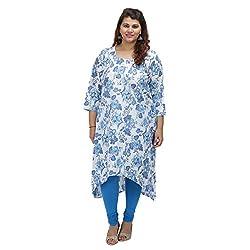 Damyantii Women's Plus Size Straight White Cotton XXL Kurta