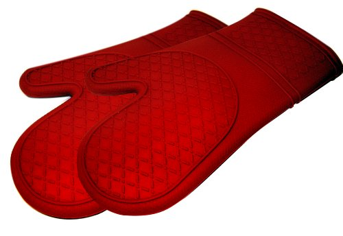 Kitchen Elements Ultra-Flex Red Silicone Kitchen Cooking Mitt, 1 Pair (Kitchen Elements compare prices)