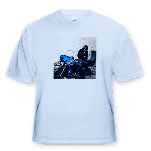 A Man Standing Outside Working on His Harley Davidson In Southern Utah in His Leathers - Toddler Light-Blue-T-Shirt (4T)