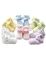 Set of 5 Newborn Baby Socks Flowers Apploqie Ruffle Socks 0-3 Months
