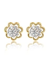 BIG Tree 18 Carat Gold Plated Swaroski Elements Studded Floral Diamond Earrings For Women.