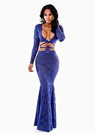 Amazon.com: Dress Party Evening Elegant Vestidos Royal Blue Ivy Wrap