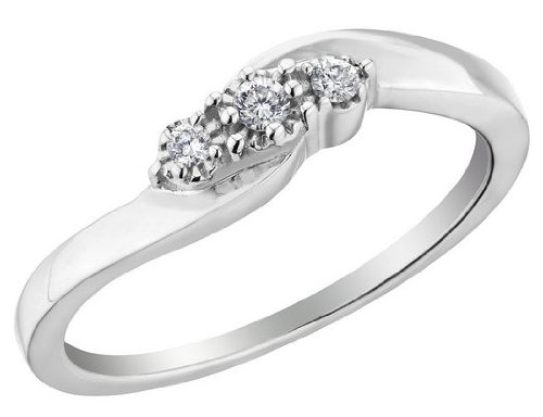 Three Stone Diamond Promise Ring in Sterling Silver, Size 6.5