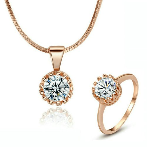 Yoursfs 1 Carat Simulated Diamond Crown Ring And Necklace Jewelry Sets 18K Gold Plated (Rose-Gold-Plated-Base, 6)