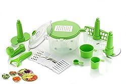 One Stop Shop Manual Food Processor - Chopper, Dicer, Blender, Atta Maker, Dough Kneader, Peeler14 Pieces (Multicolor)