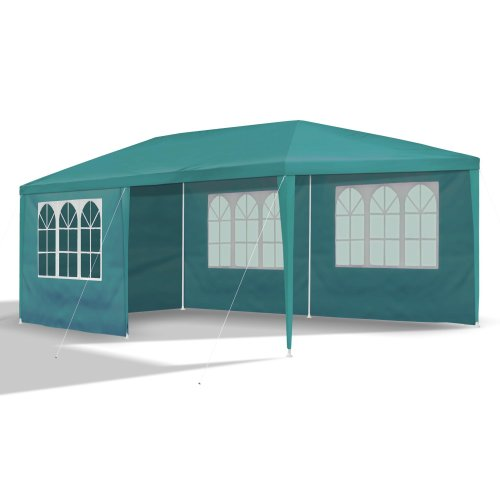 garden pavilion, 3 x 6m, Ø 32x0.55/ 24x0.4/ 18x0.4, green, 6 sidewalls incl./ 4 x windows / 2x completely closed green, material PE 110G, coated metal frame, plastic connector, waterproof, tent pegs and cords