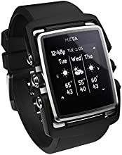 Meta Watch M1 Luxury Smart Watch for Iphone 4S and Above and Andriod 4.3 and Above Stainless Steel Face Black Natural Rubber Strap - Retail Packaging - SS Face Black Natural Rubber Strap
