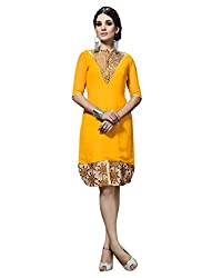 JCM Krishriyaa Georgette Embroidered Yellow XXL Size Kurti