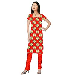 Shopeezo Red Colored Poly Cotton Printed Dress Material