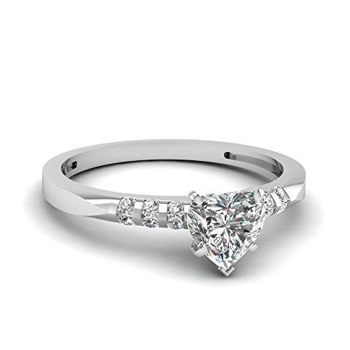 Fascinating Diamonds 1 Ct Heart Shaped Diamond Knife Edge Channel Set Engagement Ring Vvs1 14K Gia