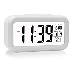 HeQiao LED Clock Slim Digital Alarm Clock Large Display Travel Alarm Clock with Calendar Battery Operated for Home Office - White (Temperature Display, Snooze Function, Smart Back-light)