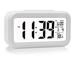 Alarm Clock, He Qiao Led Clock Slim Digital Alarm Clock Large Display Travel Alarm Clock With Calendar Battery Operated For Home Office White (Temperature Display, Snooze Function, Smart Back Light)