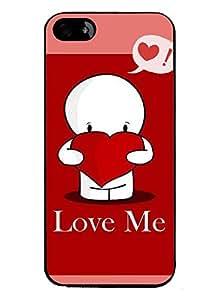 PRINTVISA Love Me Premium Metallic Insert Back Case Cover for Apple Iphone 5 / 5G / 5S - D5700