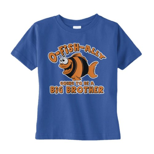 Threadrock Baby Boys' O-Fish-Ally Going To Be A Big Brother Infant T-Shirt 18M Royal Blue front-1039869