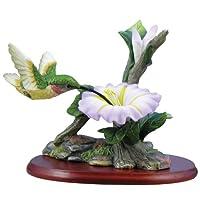 Hummingbird Figurine Porcelain with Morning Glory on Wood Base