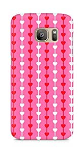 Amez designer printed 3d premium high quality back case cover for Samsung Galaxy S7 Edge (Heart Pattern8)