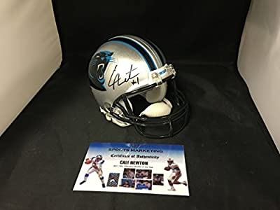 Cam Newton Signed Autographed Carolina Panthers Mini Helmet With 7 Custom Decals BCA Breast Cancer Ribbon Added GTSM Personal Player Hologram & COA