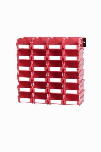 Triton Products 3-210RWS LocBin Wall Storage Bins/Rails, Small, Red