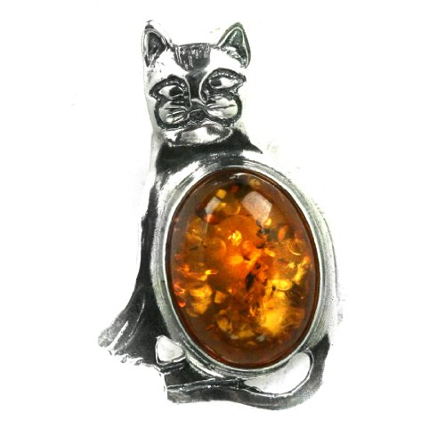 Baltic Honey Amber Sterling Silver Little Museum Collection Cat Pin 19th Century