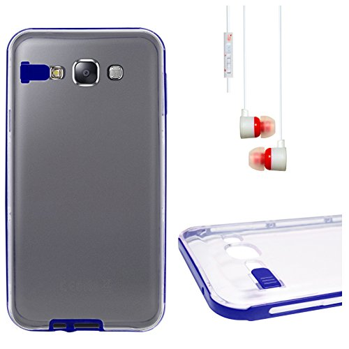 DMG LED Flashing Call Notification TPU Back Cover Case For Samsung Galaxy E7 (Blue) + White Stereo Earphone With...