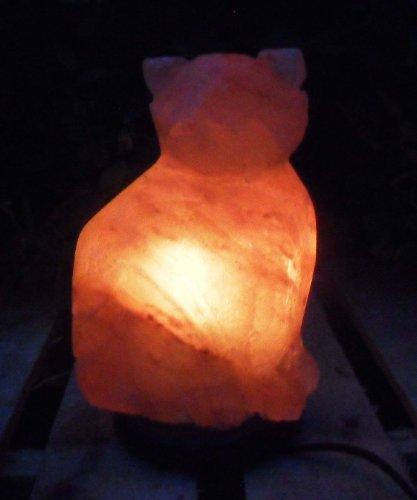 Salt Rock Crystal Lamp Himalayan Cat Marble Base Bulb and Cord