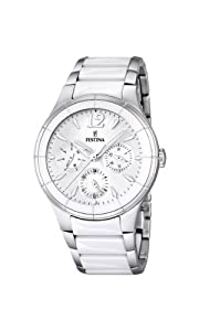Festina Men's Quartz Watch with White Dial Analogue Display and White Stainless Steel Bracelet F16624/1